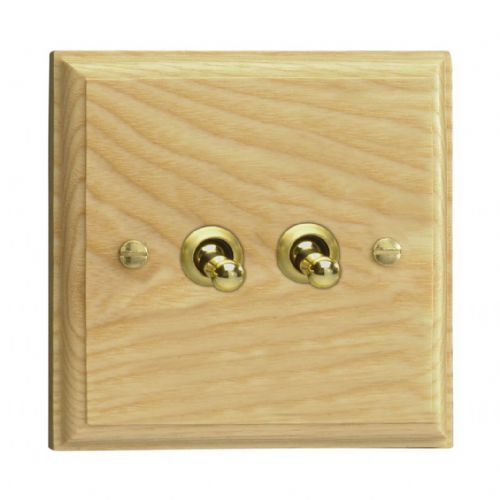 Varilight XKT2A Kilnwood Ash 2 Gang 10A 1 or 2 Way Toggle Light Switch